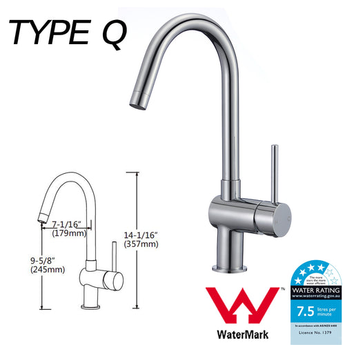 WELS Kitchen Bathroom Laundry Shower Water Basin Mixer Tap Vanity Sink Faucet -Type Q