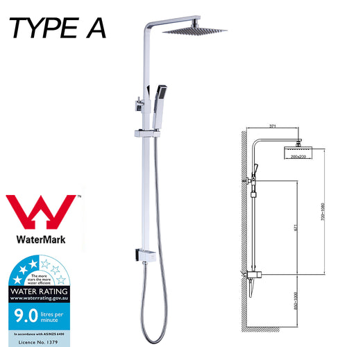 WELS Shower Head Set Handheld Spray Diverter Taps Mixer Watermark Type A