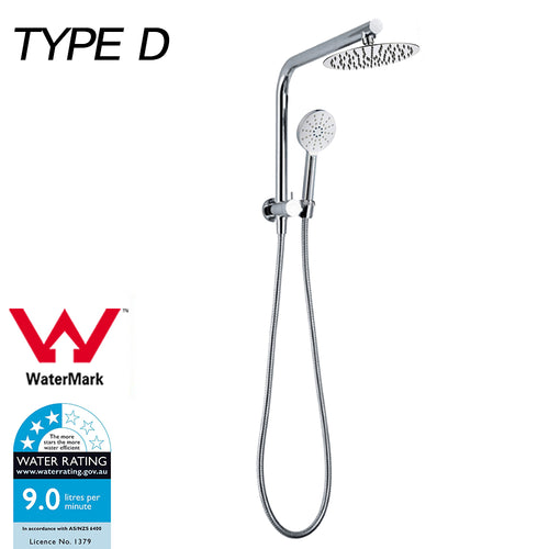 WELS Shower Head Set Handheld Spray Diverter Taps Mixer Watermark Type D