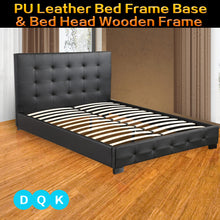 Load image into Gallery viewer, Double Queen King Size Bed Frame Base & Bed Head Wooden Frame PU Leather