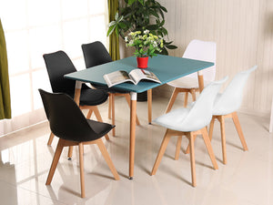 2/4/6/8 Padded Retro Replica Eames Eiffel DSW Dining Chairs Cafe Kitchen Beech Black/White