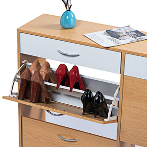 120cm Shoe Cabinet Shoes Storage Rack Organiser Wooden Shelf Drawer 24 Pairs