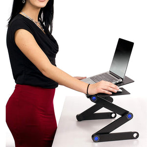 Portable Foldable Laptop Stand Desk Table Tray Adjustable Bedside w Mouse Pad