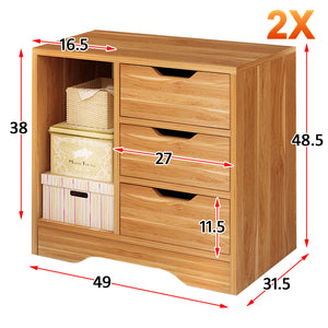 Bedside Table 3 Drawers with Compartment Tables Nightstand Unit Cabinet Storage Lamp Side Table (White & Maple)