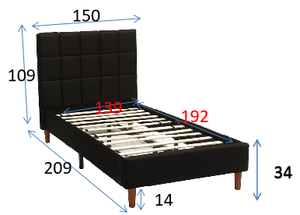Double Size Bed Frame Fabric Bedroom Furniture Wooden Base Black -BF961