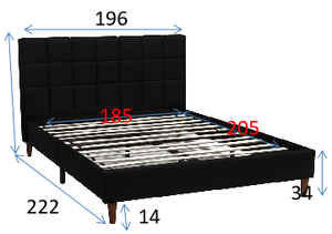 King Size Bed Frame Fabric Bedroom Furniture Wooden Base Black -BF961