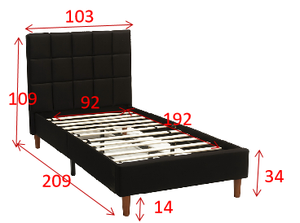 Single Size Bed Frame Fabric Bedroom Furniture Wooden Base Grey -BF961