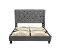 Load image into Gallery viewer, King Size Grey Color Bed Frame Fabric Bedroom Furniture Wooden Base