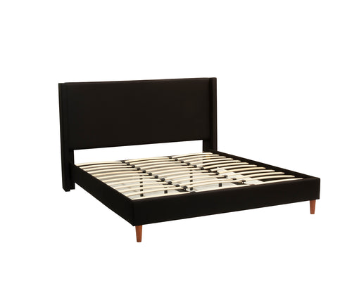 King Size Bed Frame Fabric Bedroom Furniture Wooden Base Black- BF960