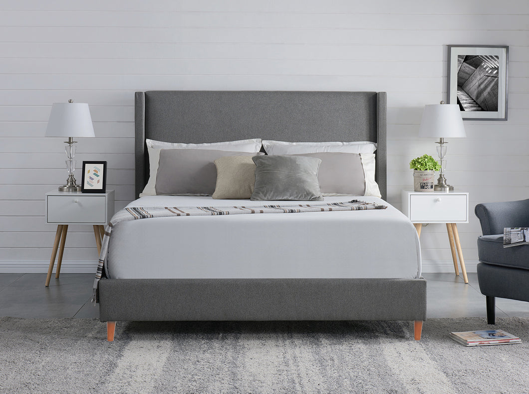 King Size Grey Color Bed Frame Fabric Bedroom Furniture Wooden Base - BF960