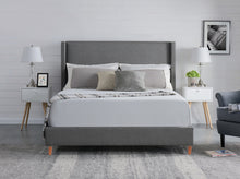 Load image into Gallery viewer, Queen Size Bed Frame Fabric Bedroom Furniture Wooden Base Grey Color -BF960
