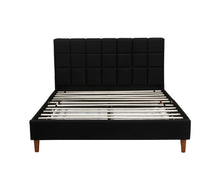 Load image into Gallery viewer, Double Size Bed Frame Fabric Bedroom Furniture Wooden Base Black -BF961