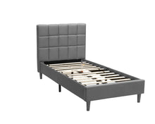 Load image into Gallery viewer, Single Size Bed Frame Fabric Bedroom Furniture Wooden Base Grey -BF961