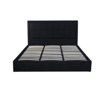 Load image into Gallery viewer, Gas Lift Double Size Bed Frame Fabric Bedroom Furniture Wooden Base Storage Black -BF971