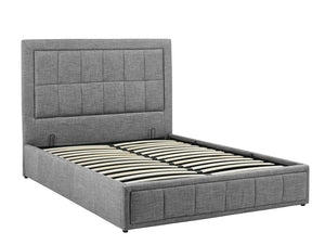 Gas Lift Double Size Bed Frame Fabric Bedroom Furniture Wooden Base Storage Grey -BF971