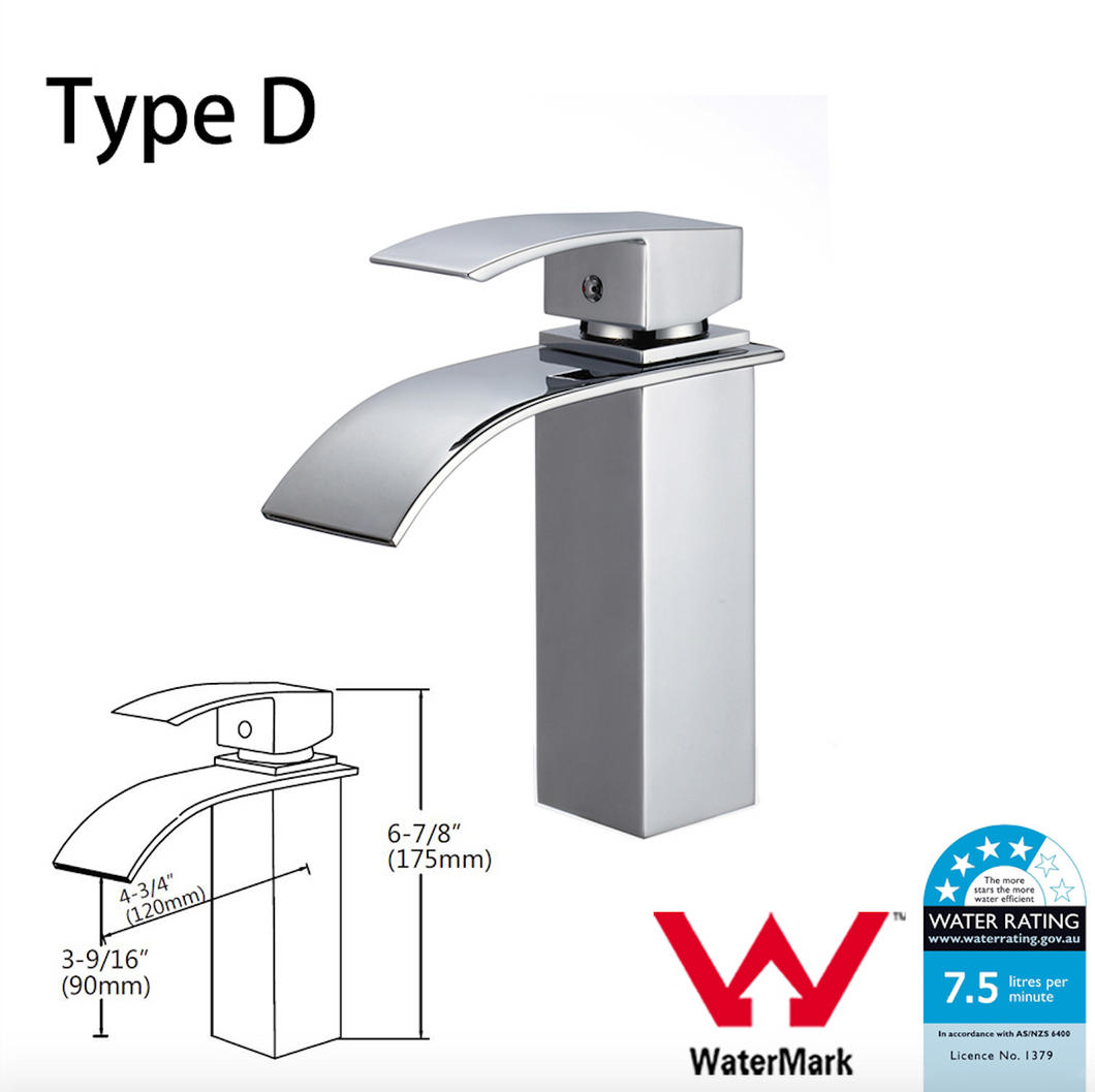 Kitchen Bathroom Laundry Shower Water Basin Mixer Tap Vanity Sink Faucet WELS-Type D