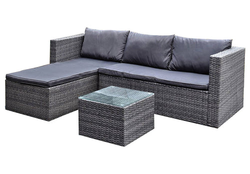 3pc Lounge Set Outdoor Furniture Rattan Wicker Chair Sofa Table Garden Patio