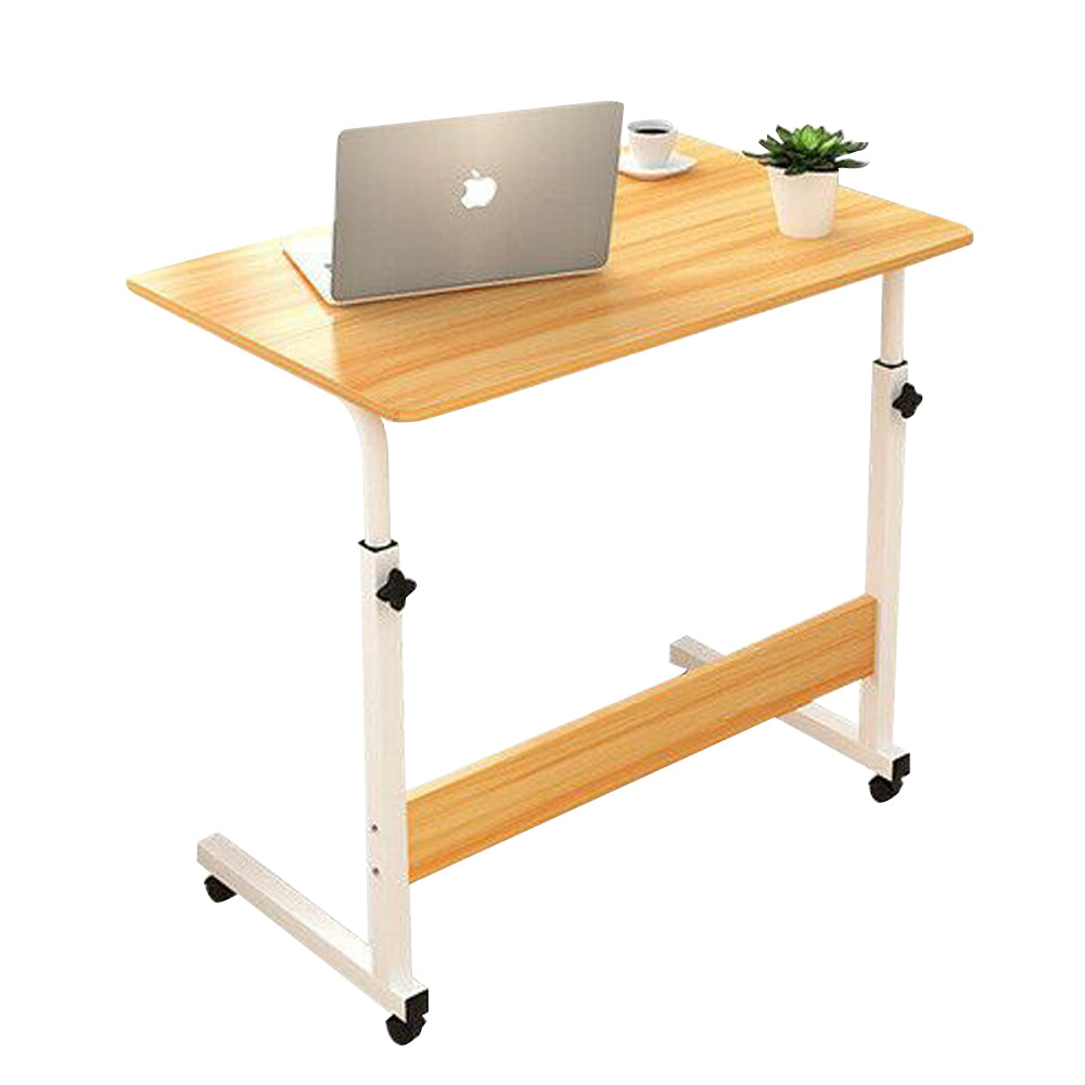 Laptop Table Stand Mobile Wooden Adjustable Height Desk Study Computer Bedside