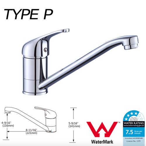 WELS Kitchen Bathroom Laundry Shower Water Basin Mixer Tap Vanity Sink Faucet -Type P