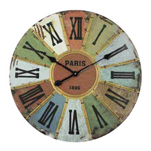 Load image into Gallery viewer, Large Industrial Multi-Coloured Paris Roman Numberals Wall Clock 60cm