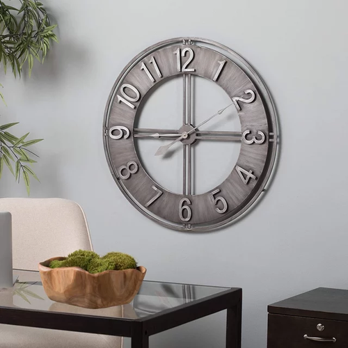 60cm Round Wall Clock Metal Industrial Iron Vintage French Provincial Antique