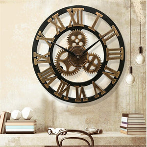 58cm Large Round Wall Clock Vintage Wooden luxury Art Design Vintage- Gold