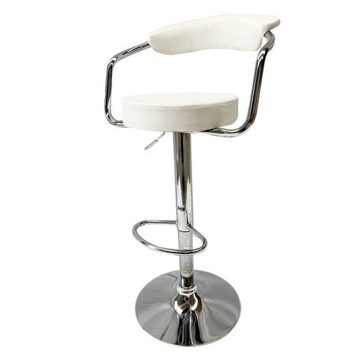 2x White Kitchen Bar Stools Gas Lift Stool Chairs Swivel Barstools PU Leather