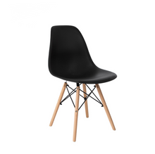 Load image into Gallery viewer, 2x Replica Retro Dining Chairs Cafe Kitchen Beech (Black Colour)