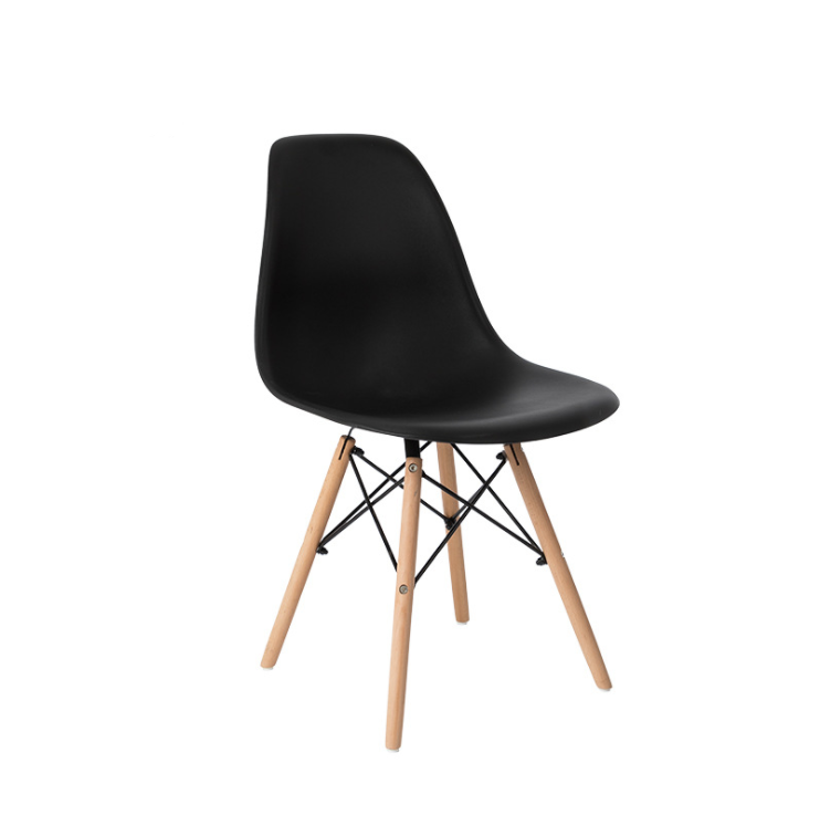 4x Replica Retro Dining Chairs Cafe Kitchen Beech (Black Colour)