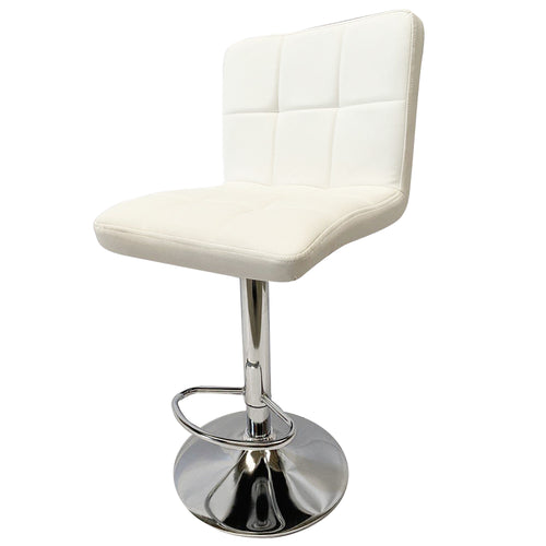 2x White Kitchen Bar Stools Gas Lift Stool Swivel Chairs PU Leather Barstools
