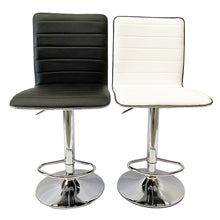Load image into Gallery viewer, 2x White Kitchen Bar Stools Gas Lift Stool Swivel Chairs PU Leather Barstools