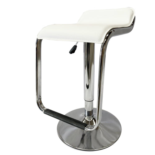 2x White Kitchen Bar Stools Gas Lift Stool Chairs Swivel PU Leather Barstools