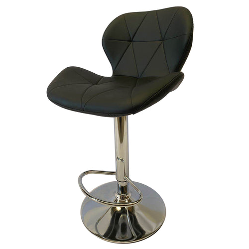 2x Black Kitchen Bar Stools Gas Lift Stool Swivel Chairs PU Leather Retro Fashion Prism Barstools