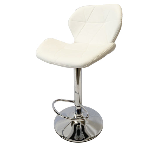 2x White Kitchen Bar Stools Gas Lift Stool Swivel Chairs PU Leather Retro Fashion Prism Barstools