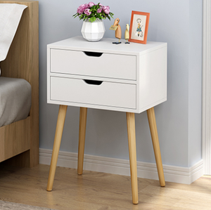 Bedside Table 2 Drawers with Legs Tables Nightstand Unit Cabinet Storage Lamp Side Table (White)