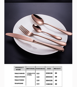 24 pcs Stainless Steel Cutlery Set Rose Gold Knife Fork Spoon Stylish Teaspoon Kitchen