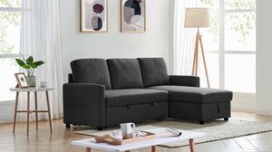 Black Colour 2m Linen Fabric 3 Seater Pullout Sofa Bed Modular with Storage Chaise Futon Corner