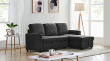 Load image into Gallery viewer, Black Colour 2m Linen Fabric 3 Seater Pullout Sofa Bed Modular with Storage Chaise Futon Corner