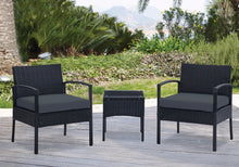 Load image into Gallery viewer, 3pc Lounge Set Outdoor Furniture Rattan Wicker Chair Table Garden Patio Balcony