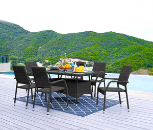 7Pcs Dining Chair Table Rattan Wicker Outdoor Furniture Lounge Patio Set Stylish