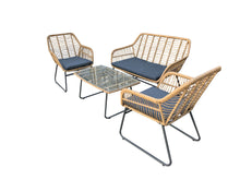 Load image into Gallery viewer, 4pc Lounge Set Outdoor Furniture Rattan Wicker Chair Sofa Table Garden Patio Balcony Beige / Grey Cushion
