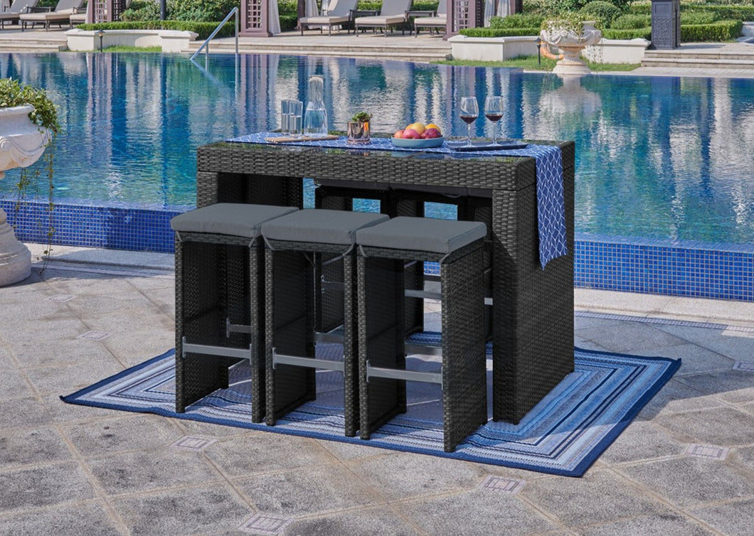 7 Piece Outdoor Bar Set Dining Rattan Wicker Furniture Lounge Patio Set Stylish