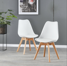 Load image into Gallery viewer, 2/4/6/8 Padded Retro Replica Eiffel DSW Dining Chairs Cafe Kitchen Beech Black/White