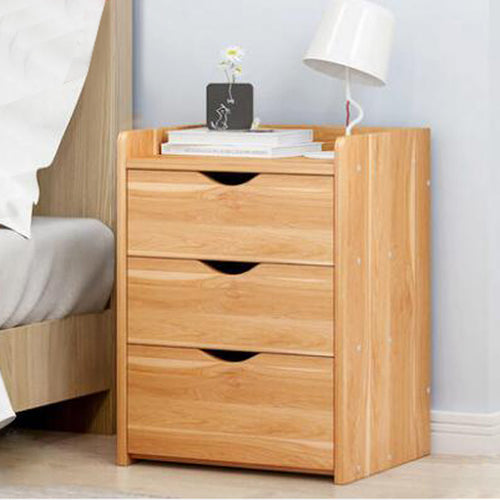 Bedside Table 3 Drawers Tables Nightstand Unit Cabinet Storage Lamp Side Table (Maple & White)