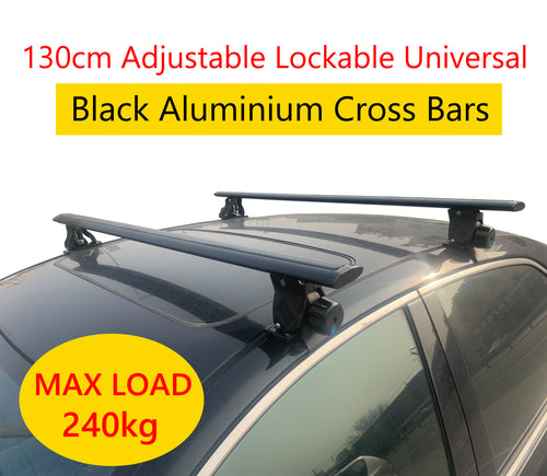 Cross Bar 130cm Black Universal Lockable Aluminium Car Roof Rack Adjustable Alloy Sedan Ute Luggage Carrier