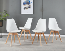 Load image into Gallery viewer, 2/4/6/8 Padded Retro Replica Eames Eiffel DSW Dining Chairs Cafe Kitchen Beech Black/White