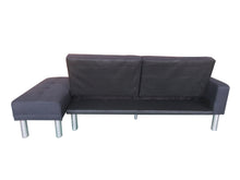 Load image into Gallery viewer, 210cm 3 Seater Sofa Bed w/ Ottoman Recliner Couch Futon Fabric Black Home Furniture