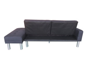 210cm 3 Seater Sofa Bed w/ Ottoman Recliner Couch Futon Fabric Black Home Furniture