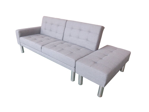 210cm 3 Seater Sofa Bed w Ottoman Recliner Couch Futon Fabric Home - Grey Colour