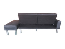 Load image into Gallery viewer, 210cm 3 Seater Sofa Bed w Ottoman Recliner Couch Futon Black PU Leather Home Furniture